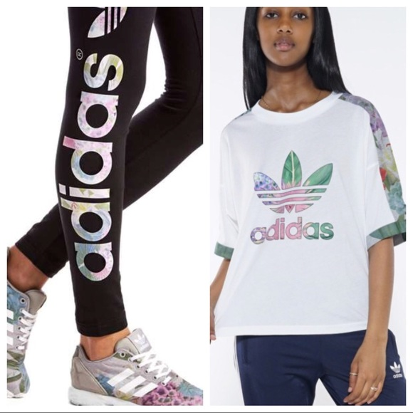 jefe natural Mente  adidas Pants & Jumpsuits   Adidas Floral Linear Logo Leggings Crop Top Set    Poshmark